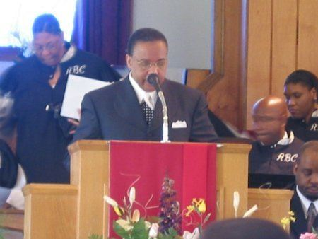 Pastor speaking in the Antioch Missionary Baptist Church